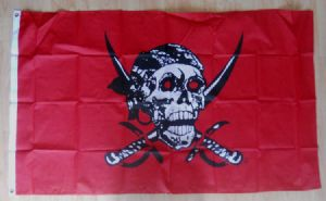 Pirate Red Skull Large Flag - 5' x 3'.